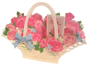 Blooming Basket - Pink Rose - Pop Up Greeting Card