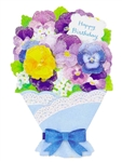 Flower Bouquet - Pansy - Happy Birthday Greeting Card