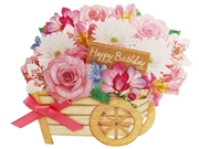 Birthday Floral Wagon Decorative Pop Up Greeting Card