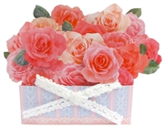 Flowers in Basket - Pink Rose - Pop Up Greeting Card