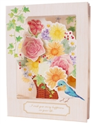 Flower Bouquet w/ Bird Pop Up Decorative Greeting Card
