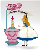 Disney Alice in Wonderland with Cheshire Cat Honeycomb Pop Up Birthday Greeting Card