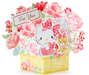 Hello Kitty Rose Bouquet Multipurpose Pop Up Greeting Card
