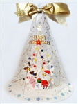 Gold Ribbon Holographic Christmas Tree Decorative Greeting Card