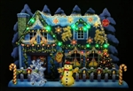Illuminated Christmas Home Lights & Melody Pop Up Greeting Card
