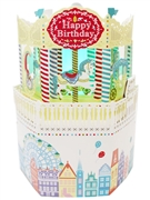 Laser Cut Happy Birthday Merry Go Round Lights and Melody Pop Up Card