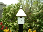 Our Post Mount Cabin Bird House is lovely sitting on top of a post in your garden. The copper roof adds to the beauty. Will patina over time