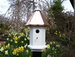 Our Cottage Bird House is lovely sitting on top of a post in your garden. The copper roof adds to the beauty. Will patina over time