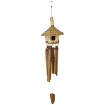 Thatched bird house bamboo wind chime