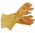 Large, durable, leather rose gauntlet gloves.