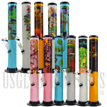 "AC-31 15"" Acrylic Water Pipe + Popular Sticker Design + Color"