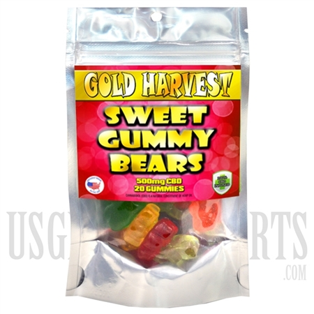 GH-103 Gold Harvest CBD Sweet Gummy Bears. 20 Count / 500mg total. Sold Individual or Display Box