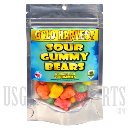 GH-104 Gold Harvest CBD Sour Gummy Bears. 20 Count / 500mg total. Sold Individual or Display Box