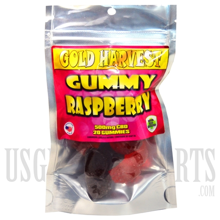 GH-105 Gold Harvest CBD Gummy Raspberry. 20 Count / 500mg total. Sold Individual or Display Box
