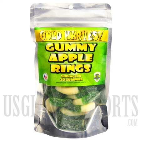 GH-107 Gold Harvest CBD Gummy Apple Rings. 20 Count / 500mg total. Sold Individual or Display Box