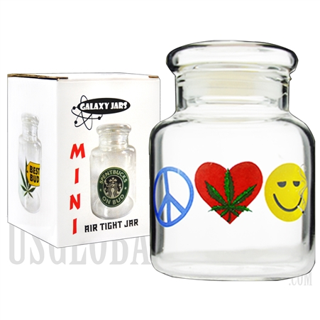 "JAR-5-7 3.5"" Mini Air Tight Jar by Galaxy Jars - Peace, Weed & Happiness"