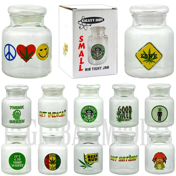 "JAR-6 3.75"" Small Air Tight Jar by Galaxy Jars. 12 Styles Available"