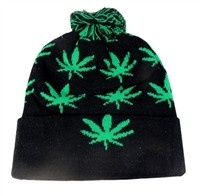 V-47 Black and Green Leaf beanie