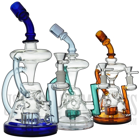 "WP-N9132 10.5"" Water Pipe + Stemless + Showerhead + Faberge Egg + 2 Recyclers + Bent Neck + Color"