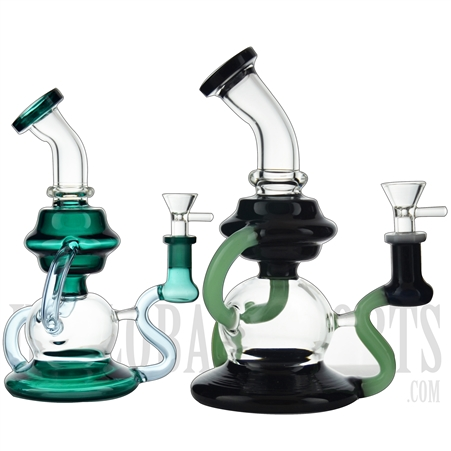 "WP-NS9133 8"" Water Pipe + Stemless + Recycler + Klein Recycler + Bent Neck + Color"