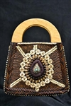 Brown Himalayan Beaded bag with Wooden handle