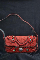 Himalayan Beaded bag with Turquoise and Lapis emblem