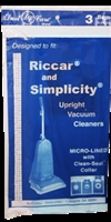 Simplicity Riccar Paper Bag Micro Lined 3 pack Replacement
