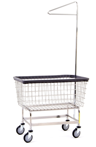 r u0026b wire large capacity 6 bu   u0026quot big dog u0026quot  laundry cart w   single pole rack
