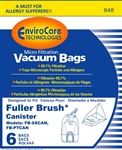 Enviro Care Micro Filtration Vacuum Paper Bags for FBPT2, FB-SSCAN, FB-PTCAN, 6PK, W/1 FILTER, 848
