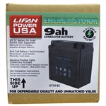 LIFAN 12-Volt 9 Amp Acid Cell Battery for Generators, Pressure Washers and Machines 7 HP and Below #GTXS-9