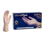 AMMEX Gloveplus IVPF Powder Free Vinyl Disposable Gloves 5mil - Medium - Case of 1000
