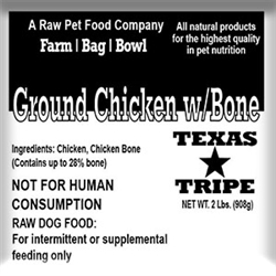 Ground Chicken with Bone - 20 lb case / 10 - 2 lb packages