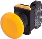 Deca A20B-A4E11Y 22 mm Push Button, Mushroom Head, Yellow