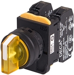 Deca A20F-33E02Q3Y 22 mm Selector Switch, 3 Position, Yellow