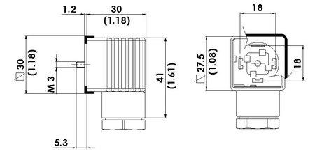 HTP Din 43650 Form A, 24V LED, MOV Suppression, EPDM Flat