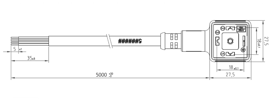 HTP Din 43650 Form A Molded, 3 Pole/Grd, NBR Profile, 5 M
