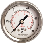 "DuraChoice PB158B-100 Oil Filled Pressure Gauge, 1-1/2"" Dial"