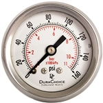 "DuraChoice PB158B-160 Oil Filled Pressure Gauge, 1-1/2"" Dial"