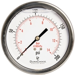 "DuraChoice PB404B-200 Oil Filled Pressure Gauge, 4"" Dial"