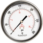 "DuraChoice PB404B-300 Oil Filled Pressure Gauge, 4"" Dial"
