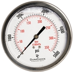"DuraChoice PB404B-K05 Oil Filled Pressure Gauge, 4"" Dial"