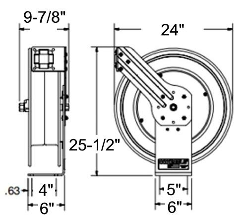 Coxreels SH-N-550 Heavy Duty Reel, 50 Ft, 300 PSI, w/ Hose