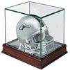 CHERRY WOOD GLASS MINI HELMET DISPLAY CASE