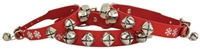 christmas jingle bells red leather dog collar