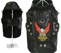 """Born to Ride"" Pleather Biker Dog Jacket"