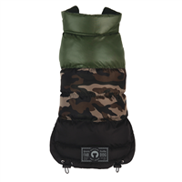 camo colorblock puffer dog coat