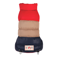 red tan navy colorblock puffer dog coat