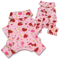 fleece strawberries dog pajamas