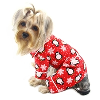 red penguins snowflake dog pajamas