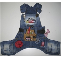 Denim Dog Jumper with Racing Patch and Toolbelt